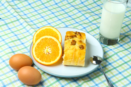 healthy breakfast fruit, bread, eggs and milk