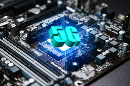 CPU chipset on computer mainboard ,5G technology concept