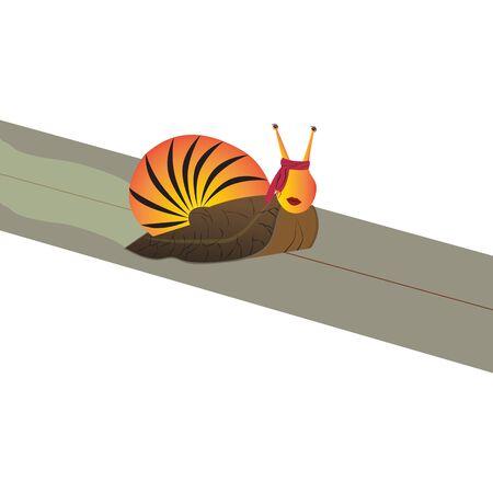 Un escargot à tête de fille rampe sur le drap. Derrière il reste une trace.