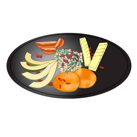 Salad plate - healthy food, organic vegetables. Can be used for any printed or web graphic, for infographics to illustrate healthy lifestyle or vegan, vegetarian, raw diet. 일러스트