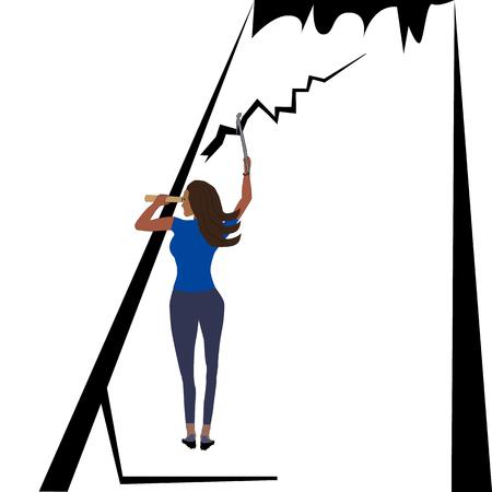 Woman climber and explorer on mount, flat design