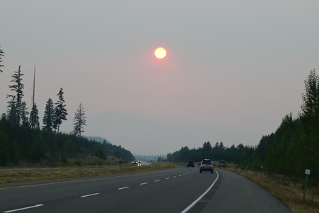 red sun: Red Sun after Wild Fires Stock Photo
