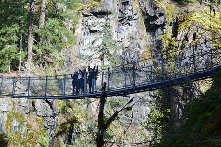 Campbell River, Elf falls  suspension bridge Editorial