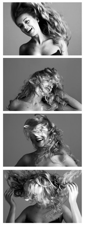 cheerful woman: Conjunto de retratos en blanco y negro de estilo joven del pelo del enrollamiento Foto de archivo