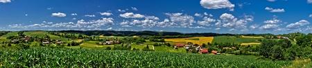 Zaistovec valley spring colorful panorama, Croatia Standard-Bild