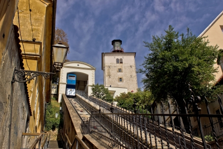 historic cable car lift in Zagreb, capital of Croatia - way to upper town