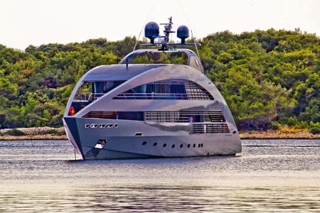 Modern design hi tech luxury yacht anchored in Mali Losinj bay, Croatia