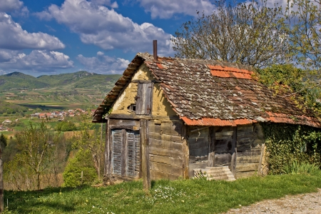Beautiful scenic old cottage made from wood & mud in Kalnik mountain region