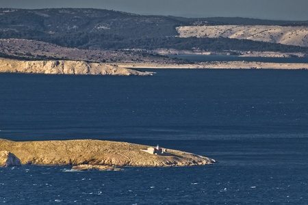 Kvarner bay islands and lighthouse, sea and islands Prvic, Grgur, Rab photo