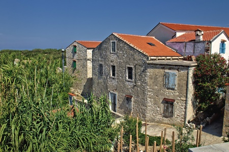 Dalmatian architecture, Old houses at Island of Susak, Croatia Stock Photo