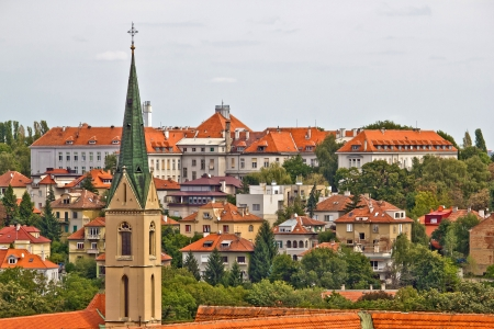 Zagreb rooftops and church tower, croatia Stock Photo
