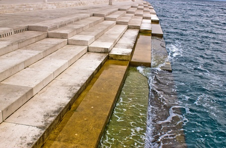 Zadar sea organs - musical instrument powered by the underwater sea stream Stock Photo