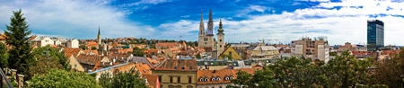Zagreb cityscape panoramic view of old town center, Croatia
