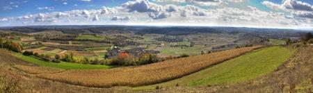 Green valley and golden fields,  landscape panorama, Kalnik, Croatia