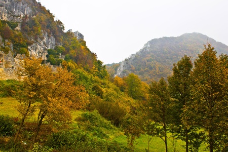 kalnik: Autumn view of mountain ridge in fog, Kalnik, Croatia