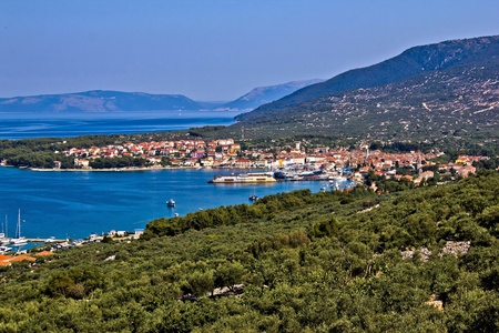 Adriatic Town of Cres bay colorful aerial view, Croatia Stock Photo