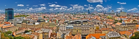 Zagreb lower town colorful panoramic view - The Capital of Croatia Stock Photo