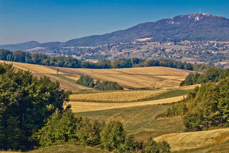 kalnik: Kalnik mountain landscape - fields and countryside, Prigorje region, Croatia