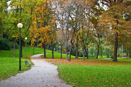 Zagreb autumn colorful park walkway, Croatia