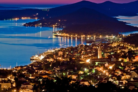 Town of Mali Losinj bay at sunset, Croatia, Dalamatia photo