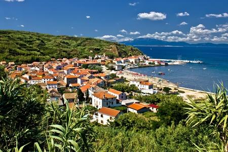 Dalmatian island of Susak village and harbor, Croatia Фото со стока
