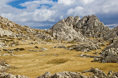 Velebit mountain landscape near Tulove Grede, Croati, Dalmatia Stock Photo