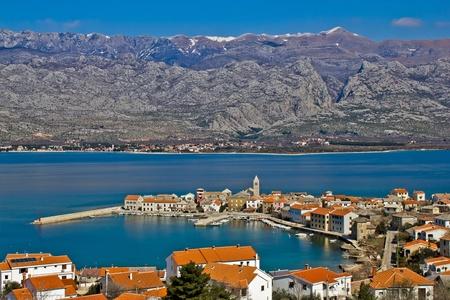 paklenica: Town of Vinjerac and Velebit mountain with Paklenica national park, Croatia