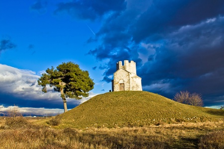 Chapel on green hill, Nin, Dalmatia, Croatia