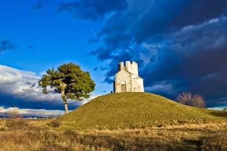 Chapel on green hill, Nin, Dalmatia, Croatia