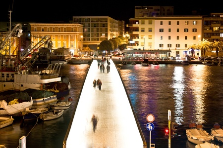 Dalmatian city of Zadar harbor pedestrian bridge at night
