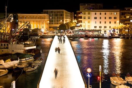 Dalmatian city of Zadar harbor pedestrian bridge at night