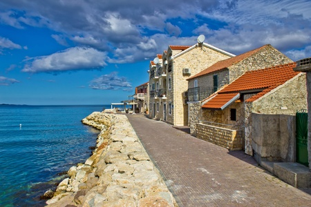 Adriatic coast - Dalmatian town of Bibinje waterfront, Croatia Standard-Bild