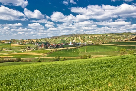 kalnik: Beautiful green springtime landscape in Croatian village, Kalnik, Croatia