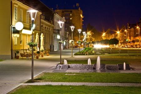 Town of Krizevci walkway night scene, Krizevci, Croatia photo