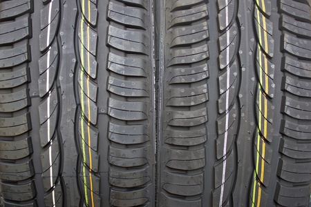 Pair of new summer black car tires - grip Stock Photo - 13323069