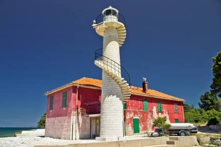 Colorful lighthouse Puntamika in Zadar, Dalmatia, Croatia