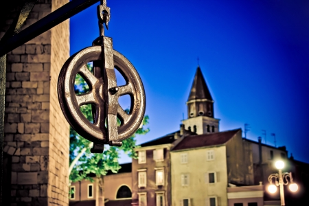 Five wells square pulley nighr scene in Zadar, Dalamtia, Croatia photo