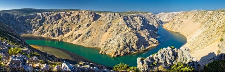 Grand canyon of Zrmanja river panoramic view, Winnetou filming location, Dalmatia, Croatia