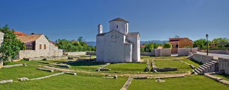 Historic site - Town of Nin cathedral, Dalmatia, Croatia Stock Photo
