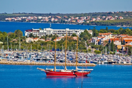 Sailboat in Zadar area waterfront, Dalmatia, Croatia photo