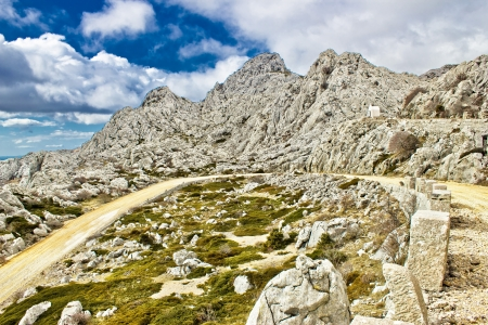 Velebit mountain road serpentine, Dalmatia, Croatia Stock Photo