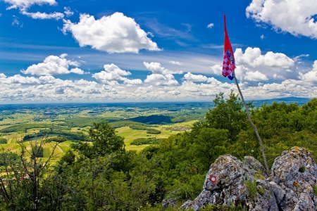 kalnik: Kalnik mountain peak view with flag of Croatia, Prigorje region Stock Photo