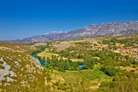 Green valley of Zrmanja river under Velebit mountain, Croatia, Dalmatia