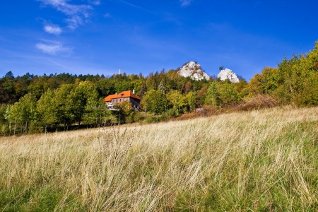 Beautiful nature scenery of Kalnik mountain with mountain lodge & cliffs photo