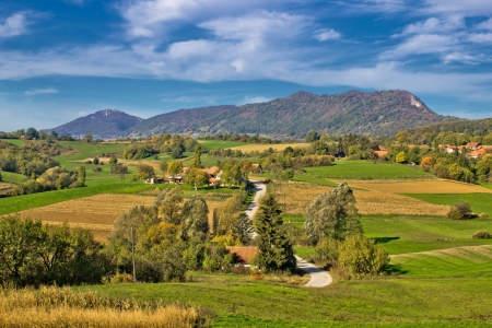 kalnik: Beautiful green scenery of Prigorje region & Kalnik mountain, Croatia Stock Photo
