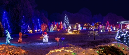 holiday lights: Village in christmas lights, panoramic view, Croatia