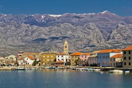 paklenica: Town of Vinjerac waterfrot view, with Velebit mountain and Paklenica national park background, Dalmatia, Croatia