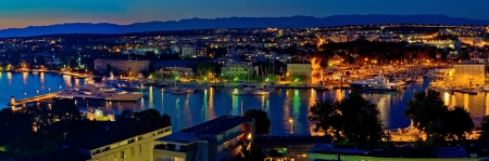Zadar harbor bay night panorama, Dalmatia, Croatia photo