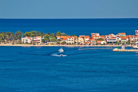 Zadar peninsula tourist destination and blue sea, Dalmatia, Croatia