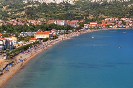 krk: Long sand beach inTown of  Baska, Island of  Krk, Croatia